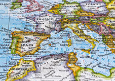 Map of Southern Europe Stock Photo