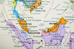 Map of southern part of Southeast Asia. With countries consists of Malaysia, Borneo, Brunei, Singapore, Indonesia, etc royalty free stock photos
