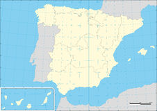 Map of Spain and autonomous communities wtih graticule Stock Photos