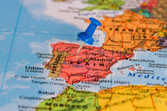 Map of Spain. With a blue pushpin stuck Stock Photo