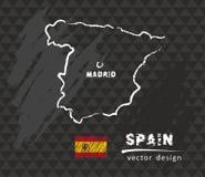 Map of Spain, Chalk sketch vector illustration. Vector sketch map of Spain with flag, hand drawn chalk illustration. Grunge design vector illustration