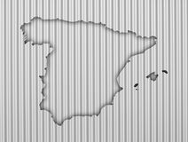 Map of Spain on corrugated iron Royalty Free Stock Photo
