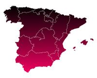 Map of Spain. Detailed and accurate illustration of map of Spain Royalty Free Stock Photography