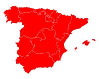 Map of Spain. Detailed and accurate illustration of map of Spain Royalty Free Stock Images