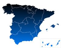 Map of Spain. Detailed and accurate illustration of map of Spain Stock Photos