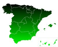 Map of Spain. Detailed and accurate illustration of map of Spain Royalty Free Stock Photo