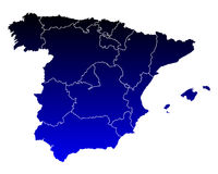 Map of Spain. Detailed and accurate illustration of map of Spain Stock Image