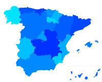 Map of Spain. Detailed and accurate illustration of map of Spain Royalty Free Stock Photos