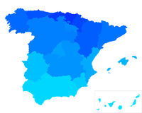 Map of Spain. Detailed and accurate illustration of map of Spain Royalty Free Stock Image
