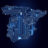 Map of Spain with electronic circuit Royalty Free Stock Photography