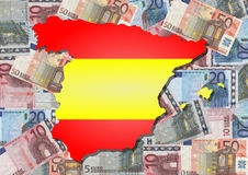 Map of Spain With Euros Royalty Free Stock Images