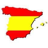 Map of Spain with flag Royalty Free Stock Photos