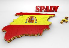 Map of SPAIN with flag. 3D map illustration of SPAIN with flag Royalty Free Stock Images