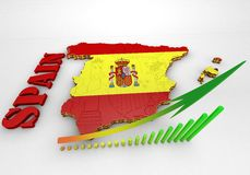 Map of SPAIN with flag. 3D map illustration of SPAIN with flag Royalty Free Stock Photo