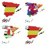 Map of Spain. With the flags of both Spain and the provinces and autonomous communities. We also see a map with historical communities Catalonia, Euskadi and Royalty Free Stock Images