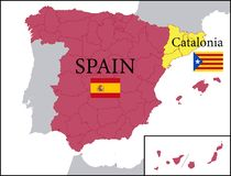 Map of Spain with Independent Catalonia. Illustration of a Map of Spain with Independent Catalonia Royalty Free Stock Images