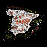 Handdrawn map of Spain. Map of Spain made in cartoon style Stock Photo