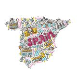Handdrawn map of Spain. Map of Spain made in cartoon style Royalty Free Stock Photo