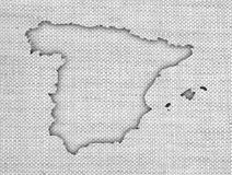 Map of Spain on old linen Royalty Free Stock Photos