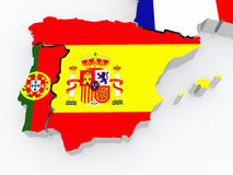 Map of Spain and Portugal. Stock Photo