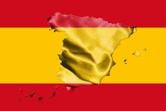 Map Of Spain With Spanish Flag 3D illustration Royalty Free Stock Photography