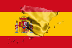 Map Of Spain With Spanish Flag On It 3D illustration Royalty Free Stock Photo