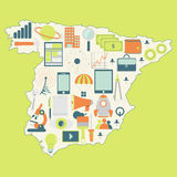 Map of Spain with technology icons Royalty Free Stock Photography