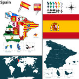 Map of Spain. Vector map of Spain with regions with flags Stock Photo