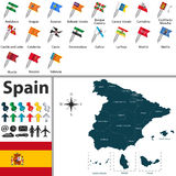 Map of Spain. Vector map of Spain with regions with flags Stock Image