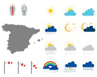 Map of Spain with weather symbols royalty free stock photos