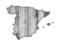 Map of Spain on weathered wood. Colorful and crisp image of map of Spain on weathered wood Royalty Free Stock Image