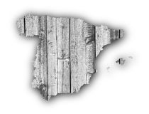 Map of Spain on weathered wood Royalty Free Stock Images