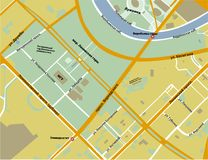 Map of Sparrow hills in Moscow yellow color. Map location of Sparrow hills in Moscow in the Russian language yellow with orange roads and the detailed location Stock Images