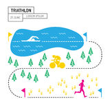 Map sport triathlon. The infographic map of the route of the triathlon with a picture of the route lengths for each sport, a Poster on the topic of triathlon is Stock Images