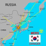 Map the spread of Mers Corona Virus. Royalty Free Stock Images