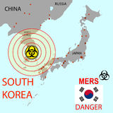 Map the spread of Mers Corona Virus.  Vector Illustration Stock Image