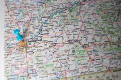 Springfield, Missouri. A map of Springfield, Missouri marked with a push pin stock image