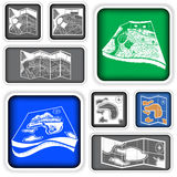 Map squared icons Royalty Free Stock Photos
