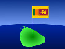 Map of Sri Lanka with flag Stock Photo