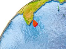 Map of Sri Lanka in red on globe. Sri Lanka on simple globe with visible country borders and realistic water in the oceans. 3D illustration. Elements of this Stock Image