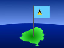 Map of St Lucia with flag Stock Images