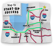 Map Start Up Success Road Directions New Business. A road map to start-up success offering directions and help in starting your new business or company following vector illustration