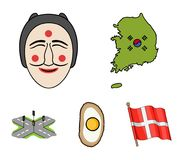 A map of the state with a flag, a Korean mask, a national egg meal, a crossroads with traffic lights. South Korea set. Collection icons in cartoon style vector Stock Photography