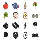 A map of the state with a flag, a Korean mask, a national egg meal, a crossroads with traffic lights. South Korea set. Collection icons in black,cartoon style Royalty Free Stock Image