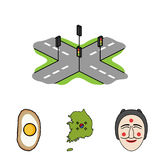 A map of the state with a flag, a Korean mask, a national egg meal, a crossroads with traffic lights. South Korea set Stock Image