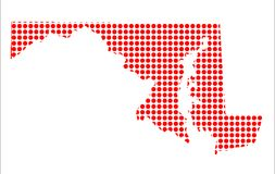 Red Dot Map of Maryland. A map of the state of Maryland created from a series of red dots over a white background Stock Images