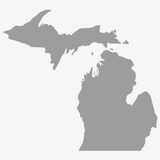 Map the State of Michigan in gray on a white background Royalty Free Stock Photos