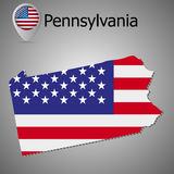 Map of the State of Pennsylvania and American flag. Map pointer with American flag. Map of the State of Pennsylvania and American flag. Map pointer with Royalty Free Illustration