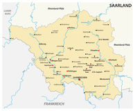 Map of the state of Saarland with the most important cities in german language.  Royalty Free Stock Photography