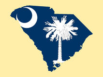 Map of state of South Carolina. Map of the State of South Carolina and their flag Stock Images